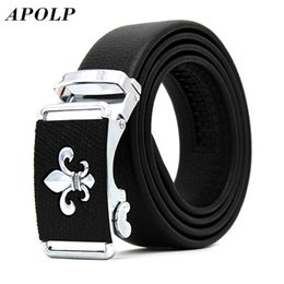 Wholesale Leather Cowhide Strap Wholesale - Wholesale- APOLP Luxury Male Automatic Buckle Cowhide Leather Waist Belt Authentic Designer Genuine Belts Brands Waistband Men Strap cinto