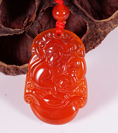 Wholesale Chinese Monkey Pendant Zodiac - Handmade carving of natural red agate rich monkey (12 Chinese zodiac). Pendant necklace pendant