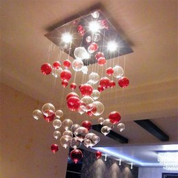 Wholesale Glass Dining Room Lamp - Indoor Pendent Light Red Bubble Pendent Light Glass Chandelier Sitting Room Light Dining-room Lamp Study Bedroom Lamp Dome Lighting