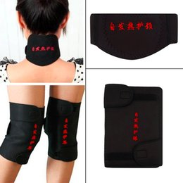 Wholesale Magnetic Belt Knee - Wholesale- pcs set Self Heating Tourmaline Magnetic Neck Waist Knee Heat Therapy Set Support Wrap Belt Brace Health Care New Style