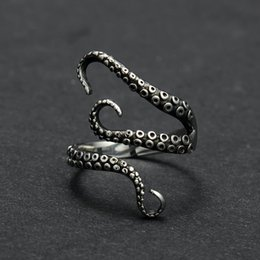 Wholesale Gold Ring Punk - Zinc Alloy Punk Style Squid Octopus Ring 2017 New Men's Jewelry Animal Opened Adjustable Finger Ring for Man Black Gold Color