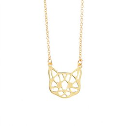 Wholesale Cat Face Necklace - 2017 new fashion Origami Cat face Necklace Cute Animal jewelry For Pets lovers collares kitty Necklaces & Pendants for girls