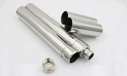 Wholesale Wholesale Stainless Steel Piping - 5pcs Mini Hip Flasks mirror Polished 2 Oz 304 Stainless Steel Hip Flask mini Portable Wine pot bottle Cigar Pipe cigar tube Holder container