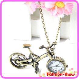 Wholesale Mini Pocket Watch Necklaces - Wholesale- Retro Mini Bronze Bike Bicycle Design Quartz Pocket Watch Pendant Necklace Chain Free Shiping
