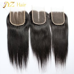 18 polegadas de cabelo malaysian on-line-JYZ Não Transformados Malaio Virgem do cabelo em linha reta Fechamento Rendas livre / meio / fecho de três partes 4x4 polegadas Malaio em linha reta fechamento
