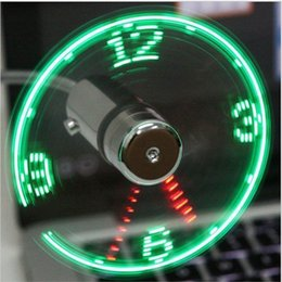 Wholesale Led Clocks China - Mini USB Fan gadgets Flexible Gooseneck LED Clock Cool For laptop PC Notebook Time Display high quality durable Adjustable