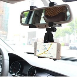 Wholesale Iphone Mirroring Car - NEW Adjustable Car Car Rearview Mirror Mount Mobile Phone Holder Bracket Condition For Samsung Xiaomi Huawei For iPhone Mobile Phone