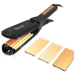 Wholesale Hair Straightener Waves - 3-in-1 Thermostat Hair Straightener Portable Gold Ceramics Perm Tools With Plug Converter Wave Fluffy Hair Styling 4 Period of Tempering