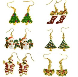 Wholesale Gold Charm Christmas Tree - Fashion Accessories Green Christmas Tree Earrings Drop Earrings Plating Gold Jewelry Party Earring For Women Christmas Gift JF-500