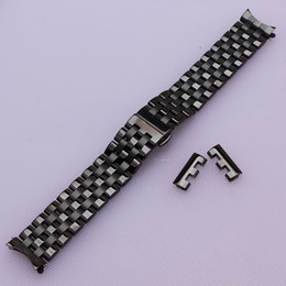 Wholesale Metal Strap Wrist Watch - Black New Mens Black Stainless Steel Watch Band Strap Metal Bracelets For Men Wrist Watches Watchband Replacement curved end straight ends