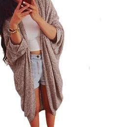 Wholesale Three Quarter Cardigan Coat - Wholesale- 2017 Hot Spring Autumn Casual Knit Sweater Coat for Women Girls Three Quarter Batwing Sleeve Loose Long Cardigan Plus Size Cloth