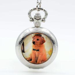Wholesale Womens Black Necklaces - Wholesale-New Fashion Handsome Dog Black Silver Bronze Quartz Pocket Watch Analog Pendant Necklace Mens Womens Watches Gift