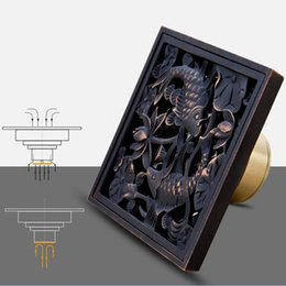 Wholesale Covers For Washing Machines - Square Shower Drain Oil Bronze Drain Cover Washing Machine Floor Sewer Pipe Displacement For Antique Brass Bathroom Product