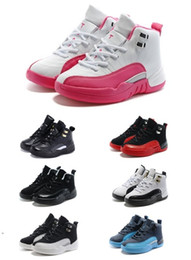 Wholesale Online Games Kid - hot air retro 12 kids basketball shoes wool kids sneaker Black Nylon Blue Suede discount shoes flu game french blue sports shoes online
