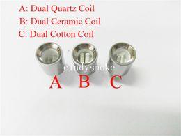 Wholesale Double Cartomizer - Dual Ceramic wax coils for cannon vaporizer atomizer vape double coil dual coil Quartz rod wax Glass globe metal vase cartomizer