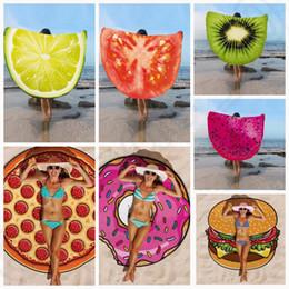 Wholesale Design Pizza - Round Beach Towel fruit design Towel blanket Pizza Hamburger Skull Ice Cream Strawberry Smiley Emoji Pineapple 18 design KKA1638