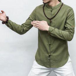 Wholesale Vintage Chinese Shirt - Summer Casual Cotton Linen shirts men Long sleeve Chinese style shirt Slim Cool M-5XL vintage shirt