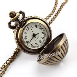 Wholesale Wholesale Resin Pumpkins - Wholesale-Pumpkin Ball Necklace Pendant Quartz Pocket Watch Mens Womens Lady Gift P67