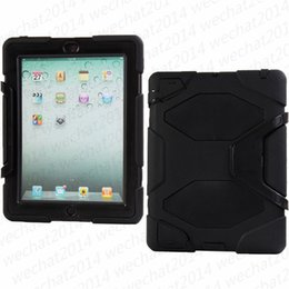 Wholesale Protect Pc Free - 50PCS ShockProof Case Defender Protecting Hybrid Silicon PC Shell Case Cover for iPad 2 3 4 Air 2 free DHL