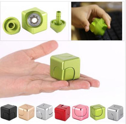 Wholesale Color Plastic Skateboards - New Multi Color Cube Gyro Finger Spinner Fidget Aluminum Alloy Hand For Autism ADHD Anxiety Stress Relief Focus Toys Gift