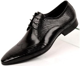 Wholesale Point Coffee - Special commend Serpentine fashion pointed toe genuine leather business shoes brand black coffee mens dress shoes wedding shoes