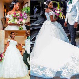 Wholesale Long Tailed Wedding Dress - New Arrival Arabic Dubai Wedding Dresses 2017 3D Floral Appliques Pearls Chapel Train Long Tail Bridal Gown vestidos de novia