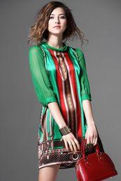 Wholesale Bohemian Clothing For Women Dresses - Women Summer Silk Dress New Fashion European Style Elegant Vintage Pattern Green Print Dresses For Lady Plus Size Clothing G2519