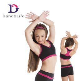 Wholesale Dance Wear Tops - Free shipping C2427girls ballet bra tops wholesale two-tone kids ballet dance tops Guangzhou active wear