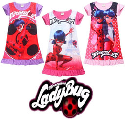 Wholesale Girls Silk Shorts - 2018 Summer Baby Girl Dress Ice Silk Cartoon Miraculous Ladybug Kids Pajamas Ruffle Hem Extra Comfy Girls Clothes Children Clothing