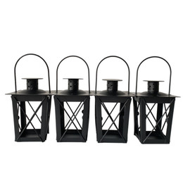 Wholesale Bar Decorations Cheap - Free shipping Cheap classical small Metal candle holder Small Iron lantern Black Color small wedding lantern