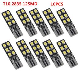 Wholesale Fog Lamp Set - 10pcs set Canbus Error Free T10 168 194 W5W Wedge 12SMD 2835 Car LED Auto Light