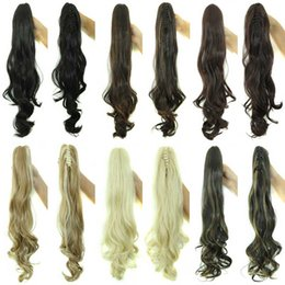 "Wholesale Long Wavy Clip Extensions - Wholesale-Synthetic Wavy Long Claw Ponytail 23"" 160g Tail Hair With Clips in Hair Extensions Ponytail Claw Wavy 6 colors"