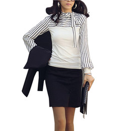 Wholesale Turtleneck Tee Shirts - Wholesale-Fashion New 2016 S-4XL Women Ladies Zanzea Stripe Tee Turtleneck OL Style Lantern Long Sleeve Spring Tops T-shirts Black White