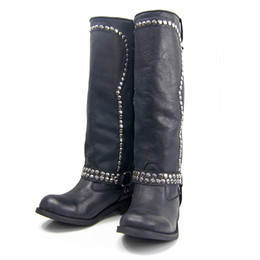 Wholesale Sheepskin Knee Warmers - Euramerican Fashion Brand Women Keep Warm Boots Whole Palm Pad Latex Soft Sole Bar Type Rivet Decoration Knee Boots