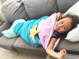 Wholesale Baby Sleepbag - 144cm*57cm New Kids mermaid tail blanket children bedding swaddle kids baby soft fleece sleepbag mermaid blanket Bedding Wrap