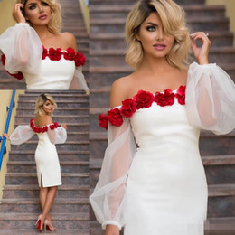 Wholesale Red Rose Cocktail Dress - Sexy White Short Cocktail Party Dresses 2017 Off Shoulder Puffy Long Sleeves 3D Rose Flowers Plus Size Knee Length Cheap Formal Party Gowns