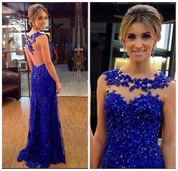 9b25d8d400a 2019 vestidos de lentejuelas azules formales largos Sparkly Royal Blue con  lentejuelas Prom Dresses 2017 Sheer