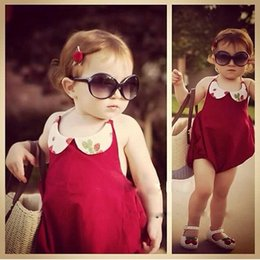Wholesale red spandex jumpsuit - Summer baby toddler girls strawberry peter pan collar red cotton strap backless romper kids fashion jumpsuits