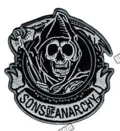 "Wholesale Soa Wholesaler - Fashion SOA Reaper Crew Embroidered Iron On Patch Motorcycle Heavy Metal Punk Applique Badge Front Patch 3.5"" G0448"