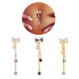 Wholesale Dangle Belly Bars - New Reverse Belly Button Ring Dangle Bowknot Clear CZ Navel rings Bar Gold Plated Dangle Body Jewelry Piercing