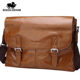 Wholesale Bison Buckle - Wholesale- BISON DENIM 2016 Crossbody bags men leather genuine Vintage designer Buckle cover 14 inches large Messenger bags for men