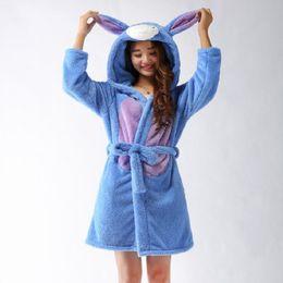 Wholesale Ladies Long Robes - Wholesale- Spring Autumn Winter Flannel Animal Eeyore Women Robe Hooded Casual Towel Bathrobe Nightgown Ladies' Long Blue Robes