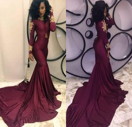 Wholesale High Neck Dresses For Women - 2017 New High Neck Gold Lace Appliqued Burgundy Prom Dresses Long Sleeves Chapel Train Women Formal Pageant Evening Long Dress for Party