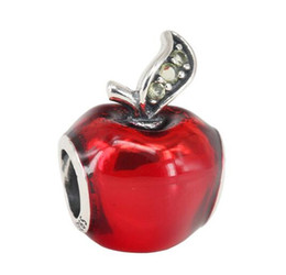 Wholesale Pandora Apple Charm - Fit For Pandora Bracelet Snow White Christmas Apple Charm With Red Enamel And Green CZ DIY Bead Charm 925 Sterling Silver Jewelry