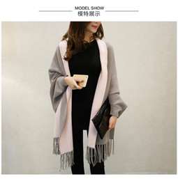 Wholesale Elegant Cardigan Women - Autumn New Women's Elegant Socialite Cashmere Tassel Cardigan Sweaters Batwing Sleeves Scarf Cape Outwear Good Quality