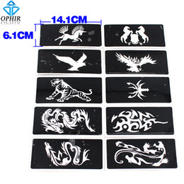 Wholesale Sheets For Glitter Tattoos - Wholesale-OPHIR 10Pcs lot Reusable Airbrush Sheets Stencils(Animal series) for Body Paint Glitter Temporary Tattoo Kit 14.1 x 6.1cm_TA034B