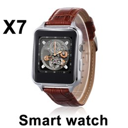 Wholesale Blackberry G - X7 Smartwatch G-sensor Speaker Bluetooth dial Synchronous push Leather strap Mobile phone Smart watches phonebook High speed CPU DZ09 A1 DHL