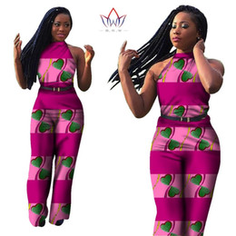 Wholesale Womens African Clothing - Wholesale- 2017 New Summer Womens Jumpsuit Sex Sleeveless Long Pants African Print Style Clothing One Piece Out Off Shoulder WY315