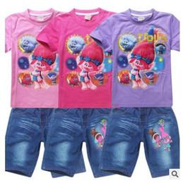 Wholesale Wholesale Jeans For Children - Dhl Trolls Poppy T-shirt +Jeans Shorts For Children Summer Girls Clothing Set Girls Poppy Costume Cotton Tees Children Tops For Kids