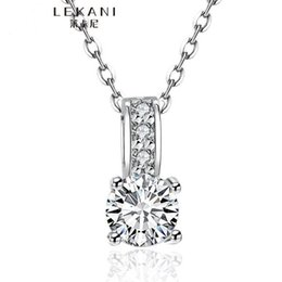 Wholesale Circle Diamond Pendant White Gold - 100% Pure 925 Sterling Silver Pendant Necklace 1.5 Ct SONA CZ Diamond Engagement Necklace Solid Silver Wedding Necklaces for Women